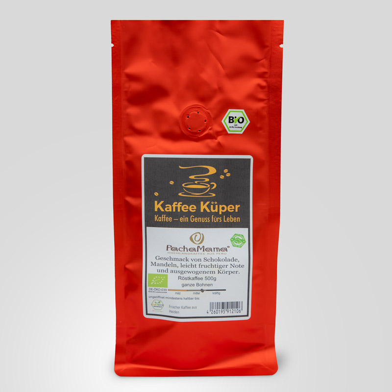 Pacha Mama Kaffee aus 100 % Bio-Arabica Gourmet Kaffee wird von ca. 50 Cafetaleros aus dem Dorf Miguel Grau kultiviert. Es gehört zur Region Chanchamayo, eine der besten Kaffeeanbaugebiete Perus.