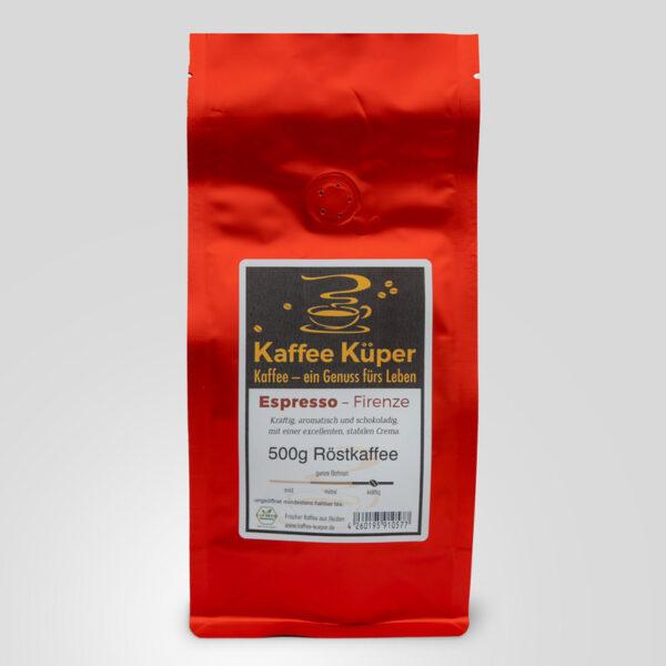 Espresso Firenze ist ein kräftig, aromatisch und schokoladiger Kaffee mit einer excellenten und stabilen Crema.