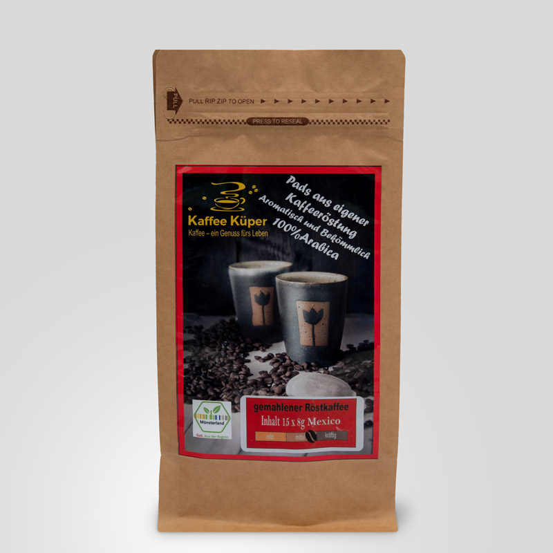 Die Kaffeepads Mexiko Altura Superior eignen sich für alle Padmaschinen. Der Kaffee ist köstlich, ergiebig und bekömmlich. Arabicagenuss aus dem Hochland von Mexico.